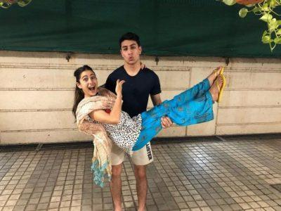 Sara Ali khan with her brother Ibrahim Ali Khan