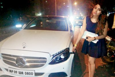 Akanksha Puri With Her Car